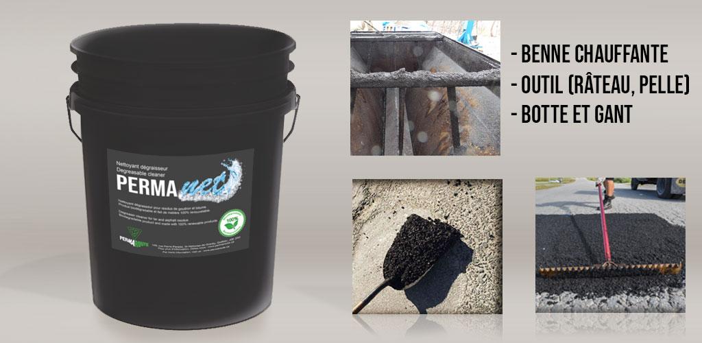 PERMANET est un nettoyant dégraisseur biodégradable, conçu pour nettoyer les résidus bitumineux.
